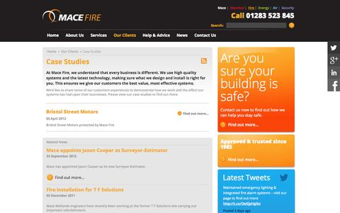 Screenshot of Case Studies Page macefire.co.uk - Fire alarm, security and fire extinguisher case studies |Mace Fire - captured Sept. 30, 2014