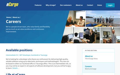 Screenshot of Jobs Page ecargo.co.nz - eCargo - Freight management made simple - captured Sept. 19, 2017