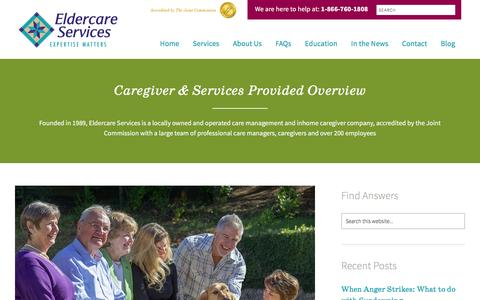 Screenshot of Services Page eldercareanswers.com - Caregiver & Care Management Providers - captured Jan. 27, 2016