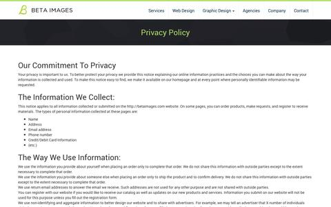 Screenshot of Privacy Page betaimages.com - Privacy Policy | Beta Images - captured Oct. 5, 2014