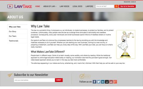 Screenshot of About Page lawtake.com - About Us - Our Story | LawTake - captured July 16, 2018