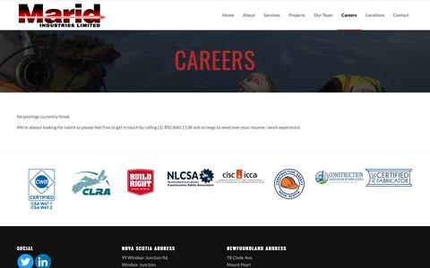 Screenshot of Jobs Page marid.ca - Steel Fabrication Jobs | Nova Scotia | Marid Industries - captured Oct. 2, 2018