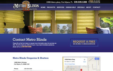 Screenshot of Contact Page metroblindsfl.com - Contact Metro Blinds   Fort Myers Window Treatments - captured Oct. 27, 2014