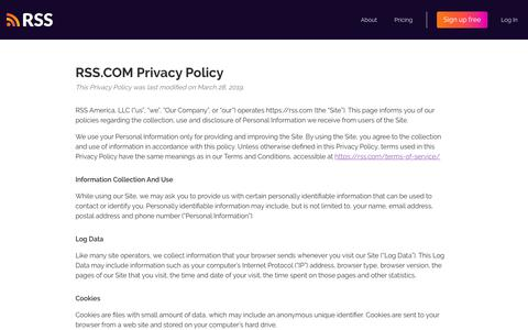 Screenshot of About Page Privacy Page rss.com - Privacy Policy - captured Jan. 20, 2020