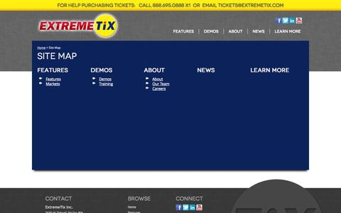 Screenshot of Site Map Page extremetix.com - Site Map - captured Sept. 19, 2014