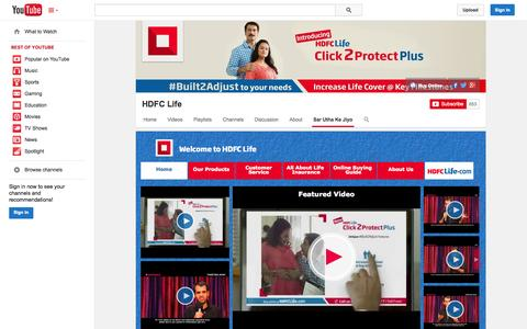 Screenshot of YouTube Page youtube.com - HDFC Life  - YouTube - captured Oct. 22, 2014