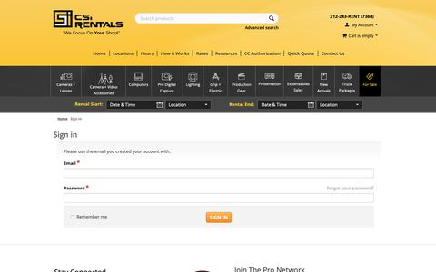 Screenshot of Login Page csirentals.com - Sign in - Rent Digital Cameras and Backs, Lenses, Lighting, Grip, Computers And Video Gear! - captured Nov. 4, 2018