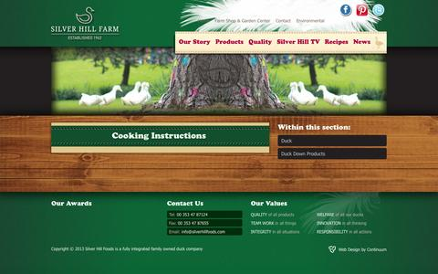 Screenshot of Products Page silverhillfarm.ie - Duck Meat and Duck Down Products - Silver Hill Farms - captured Oct. 6, 2014