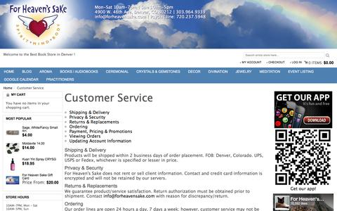 Screenshot of Privacy Page Support Page forheavensake.com - Customer Service - captured June 27, 2016