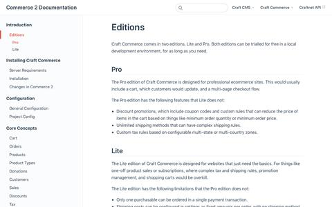 Screenshot of Pricing Page craftcms.com - Editions | Commerce 2 Documentation - captured Nov. 6, 2019
