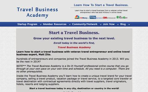 Screenshot of Signup Page travelbusinessacademy.com - Learn How To Start A Travel Business, Travel & Tourism Business,  | Travel Business Academy - captured Oct. 26, 2014