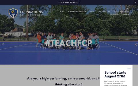 Screenshot of Jobs Page foundationscollegeprep.org - #TeachFCP — Foundations College Prep - captured Aug. 20, 2018