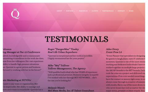 Screenshot of Testimonials Page queensentertainmentgroup.com - Queens Entertainment Group |   Testimonials - captured Oct. 3, 2014