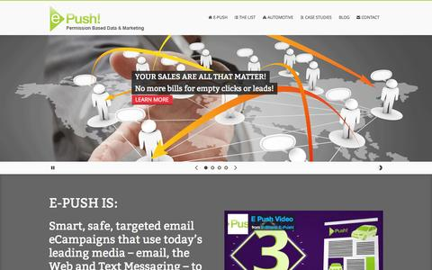 Screenshot of Home Page Contact Page Case Studies Page epush.us - E-Push - captured Sept. 30, 2014