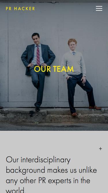 Screenshot of Team Page  prhacker.com - The Team — PR Hacker