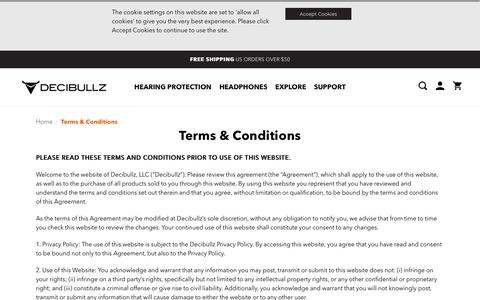 Screenshot of Terms Page decibullz.com - Decibullz Terms and Conditions - captured Oct. 8, 2018