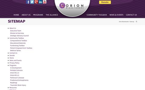Screenshot of Site Map Page orionbionetworks.org - Sitemap | Orion Bionetworks - captured Oct. 26, 2014