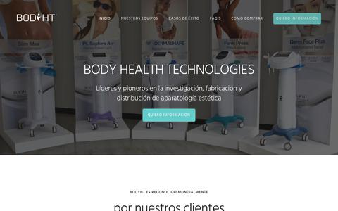 Screenshot of Home Page bodyht.com - Equipos de Estética, Aparatología Profesional Salud y Belleza - BodyHT - captured Aug. 2, 2018