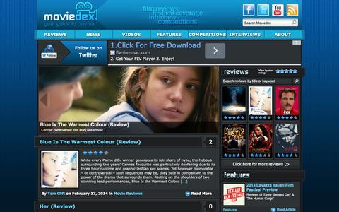 Screenshot of Home Page moviedex.com - Moviedex | Movie Reviews & Film News | Your Guide to Cinema - captured Oct. 7, 2014
