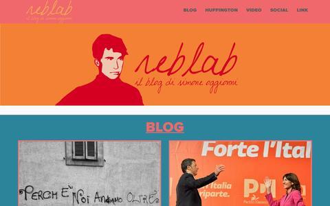 Screenshot of Home Page reblab.it - Reblab.it - Il blog di Simone Oggionni - captured June 22, 2015