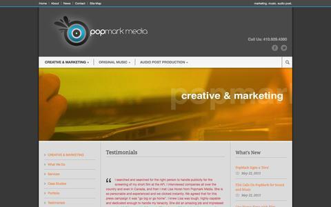 Screenshot of Testimonials Page popmarkmedia.com - Popmark Media Testimonials » Popmark Media - captured Sept. 30, 2014