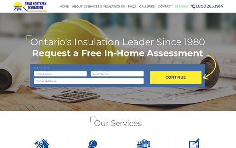 Screenshot of Services Page gni.ca - Insulation Services offered by Great Northern Insulation - captured Sept. 23, 2018