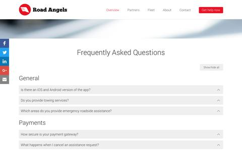 Screenshot of FAQ Page roadangels.com.au - Roadside Assistance Frequently Asked Questions | Road Angels - captured Aug. 14, 2016