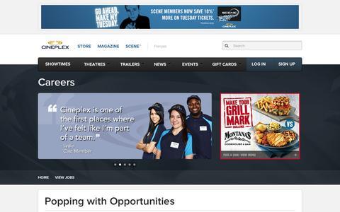 Screenshot of Jobs Page cineplex.com - Careers - captured Sept. 18, 2014