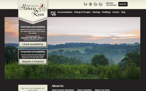 Screenshot of About Page innathoneyrun.com - Amish Country Hotel | About The Inn at Honey Run | - captured Feb. 22, 2016