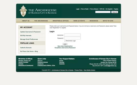 Screenshot of Login Page archkck.org - User Login Form - captured Oct. 4, 2014