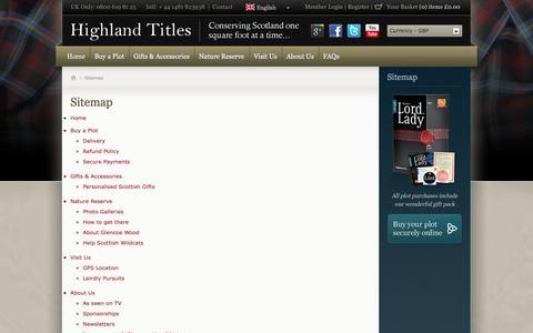 Screenshot of Site Map Page highlandtitles.com - Highland Titles Sitemap - captured Sept. 23, 2014