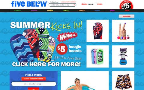 Screenshot of Home Page fivebelow.com - hot stuff. cool prices. | Five Below - captured July 11, 2014