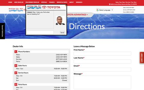 Screenshot of Contact Page marinadelreytoyota.com - Hours & Directions Marina del Rey Toyota 4636 Lincoln Blvd Marina del Rey, CA 90292 | (310) 439-9894 - captured Jan. 19, 2018