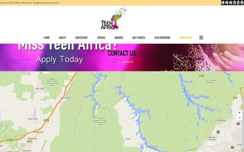 Screenshot of Contact Page missteenafrica.com - Miss Teen Africa | Contact Page - captured Feb. 27, 2016