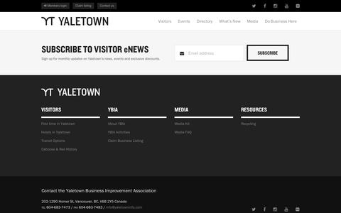 Screenshot of Press Page yaletowninfo.com - Subscribe to Visitor eNews | Yaletown: Where Next Begins - captured Oct. 4, 2014