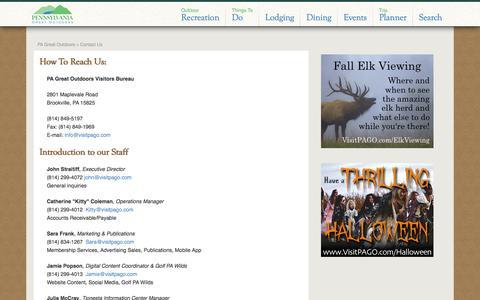 Screenshot of Contact Page visitpago.com - Contact Us - PA Great Outdoors - captured Oct. 2, 2014