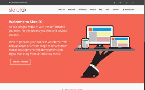 Screenshot of Home Page skrollx.com - Web Development | Mobile Development | Digital Marketing - skrollX - captured Aug. 12, 2015