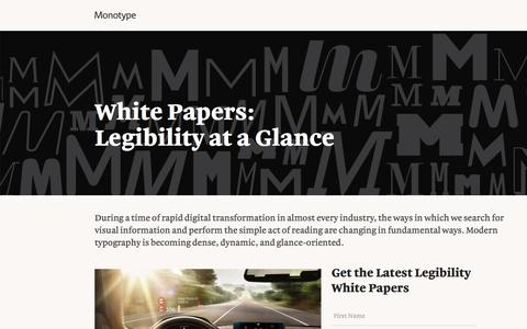 Screenshot of Landing Page monotype.com - Glance-Based Legibility White Papers   Monotype - captured Oct. 23, 2016