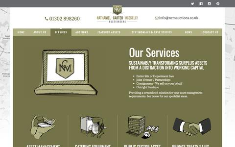 Screenshot of Services Page ncmauctions.co.uk - Surplus Asset Solutions - captured Oct. 19, 2018
