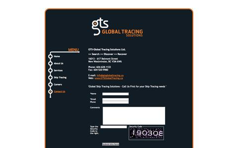 Screenshot of Contact Page gtsglobaltracing.ca - GTS Global Tracing Solutions, New Westminster real estate: Contact Us - captured Oct. 1, 2014