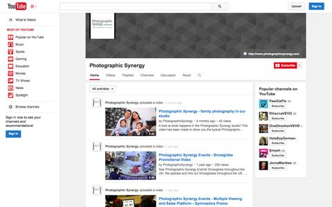 Screenshot of YouTube Page youtube.com - Photographic Synergy  - YouTube - captured Oct. 28, 2014
