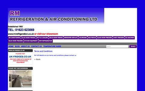 Screenshot of Terms Page rmrefrigeration.co.uk - The Online Shop For New, Used and Refurbished Commercial Fridges - captured Oct. 9, 2014
