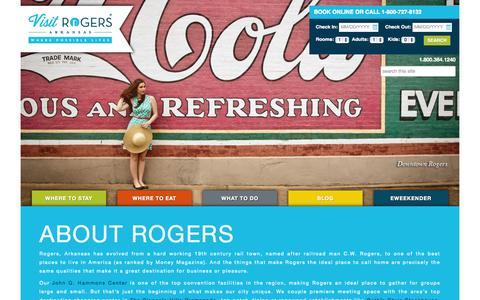 Screenshot of About Page visitrogersarkansas.com - About Rogers | Visit Rogers Arkansas - captured Sept. 23, 2014