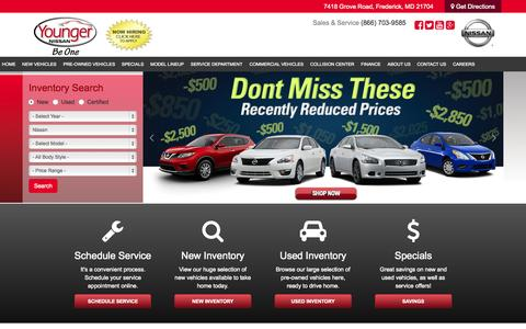 Screenshot of Home Page youngernissan.com - Visit Younger Nissan of Frederick, Maryland, your premier Nissan dealer serving Hagerstown, Germantown and Gaithersburg, MD | Shop New, Used & Certified Pre-Owned Nissan Dealership in MD at Younger Nissan of Frederick - captured Sept. 12, 2015