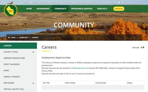 Screenshot of Jobs Page countyofnewell.ab.ca - County of Newell - captured May 22, 2017