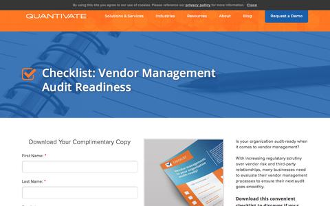 Screenshot of Team Page quantivate.com - Vendor Management Audit Readiness Checklist | Quantivate - captured Dec. 3, 2019
