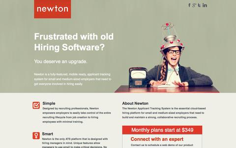Screenshot of Landing Page newtonsoftware.com - Collaborative Applicant Tracking System - captured March 15, 2017