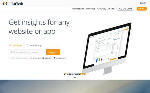 Screenshot of Home Page similarweb.com - Website Traffic & Mobile App Analytics | SimilarWeb - captured Dec. 2, 2015