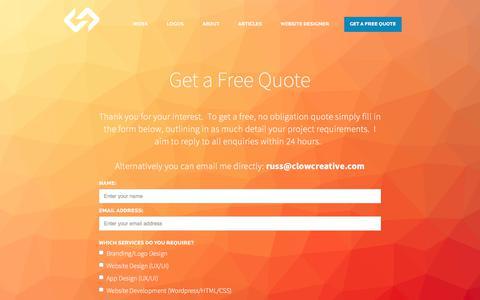 Screenshot of Contact Page clowcreative.com - Contact Russ Clow - Freelance Website Designer - captured July 19, 2018