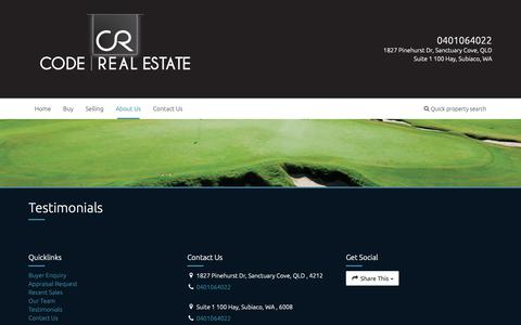 Screenshot of Testimonials Page coderealestate.com.au - Code Real Estate - Testimonials - captured Sept. 28, 2018
